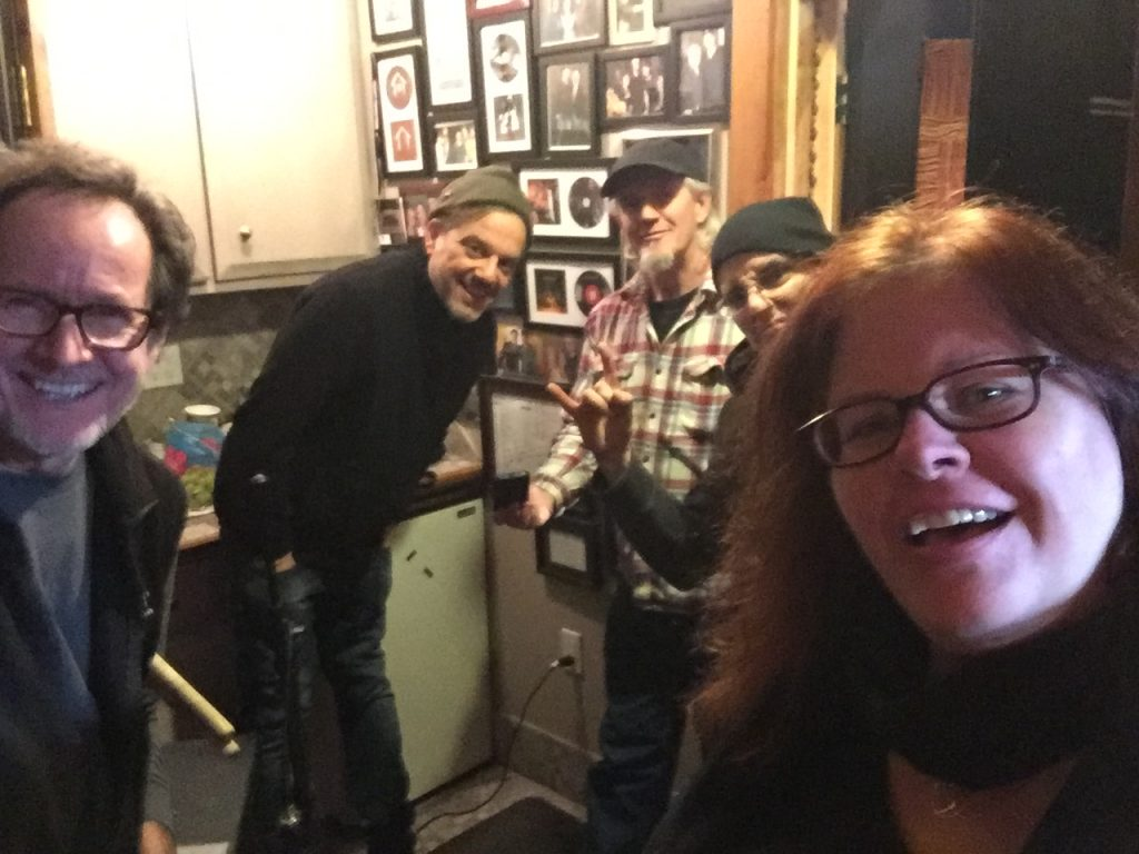 Gary, Mark, James, Frank and Suzie on the first day in the studio